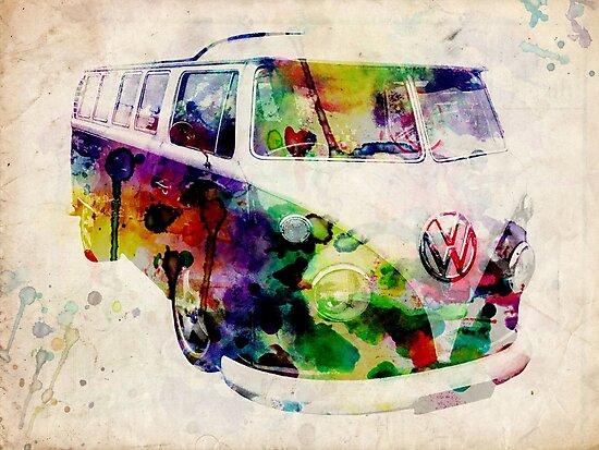 Camper Van Urban Art by Michael Tompsett