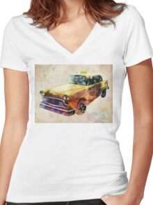 NYC Classic Taxi Urban Art Women's Fitted V-Neck T-Shirt
