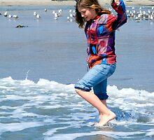 Skipping Along The Water's Edge ~ California Beach Scene by Marie Sharp
