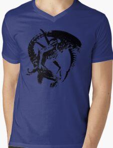 Alien Black & White Mens V-Neck T-Shirt