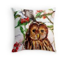 Owl in the Snow Throw Pillow