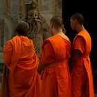 Monks and statue by markmccall