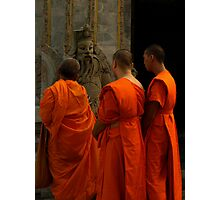 Monks and statue Photographic Print