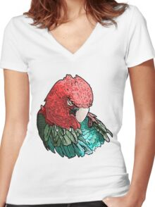 Sleeping Macaw Women's Fitted V-Neck T-Shirt