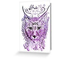 She Lynx and the Ferns (Purple) Greeting Card
