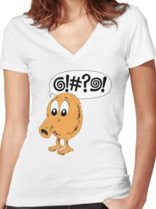 Retro Video Game Qbert T-Shirt Women's Fitted V-Neck T-Shirt