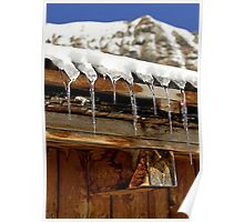 Icicles on a wooden chalet, Switzerland Poster
