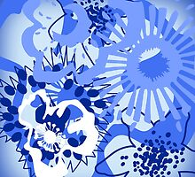 Bursting Blue Colour Splash Floral Version 1 (see description) by Ra12