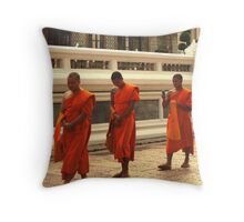 three monks one telephone Throw Pillow