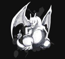 Pokemon - A Charizard Sketch (Black Background) by Domadraghi