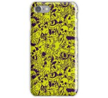 Halloween pattern with skulls, bones and zombies in green and violet iPhone Case/Skin