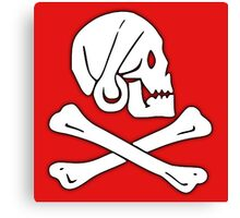 Jolly Roger, Henry Every, PIRATE FLAG, Skull & Crossbones, Pirate, Crew, Buccaneer, White on Red Canvas Print