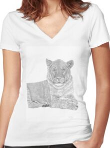 Nyah-The Lioness Women's Fitted V-Neck T-Shirt