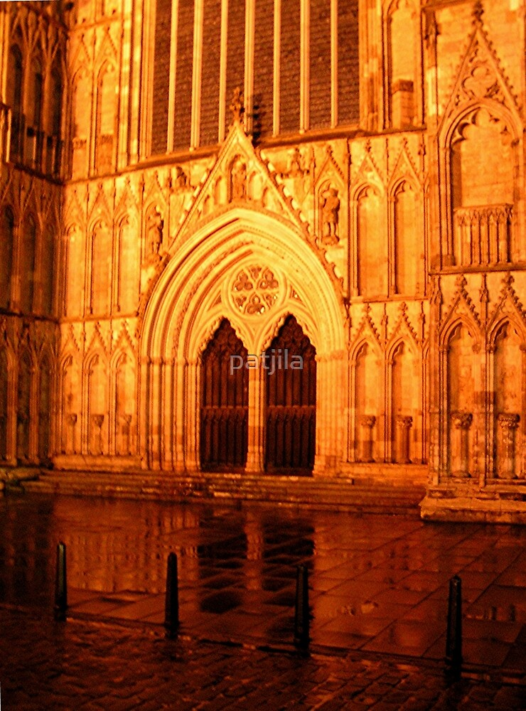 York Minster Portal by night by patjila