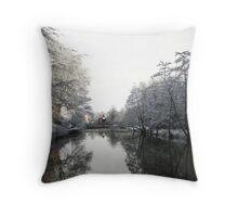 River Wansbeck in Winter Throw Pillow