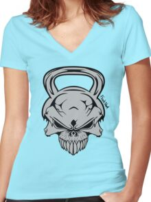Skull Weight  Women's Fitted V-Neck T-Shirt