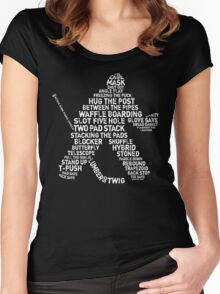 Ice Hockey Goalie Calligram Women's Fitted Scoop T-Shirt