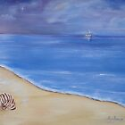 Tranquil, evening sky at the beach. by Kym  Breeze