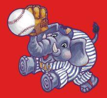 Wild Animal League Elephant Baseball  One Piece - Short Sleeve