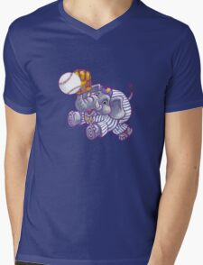 Wild Animal League Elephant Baseball  Mens V-Neck T-Shirt