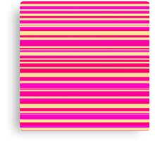 Bright hot pink and neon yellow horizontal linework Canvas Print