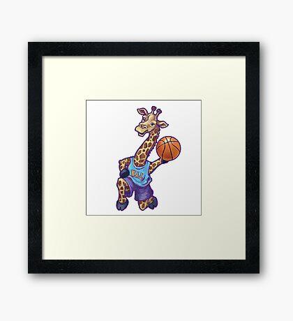 Wild Animal League Giraffe Basketball Star Framed Print