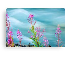 Fireweed and Stream Canvas Print