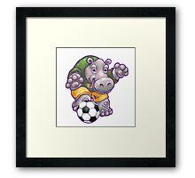 Wild Animal League Hippo Soccer Player Framed Print