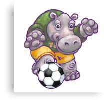 Wild Animal League Hippo Soccer Player Canvas Print