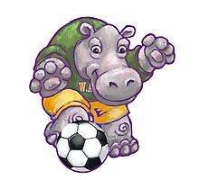 Wild Animal League Hippo Soccer Player Photographic Print