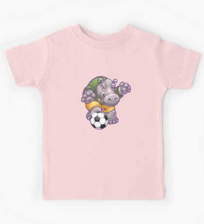 Wild Animal League Hippo Soccer Player Kids Tee