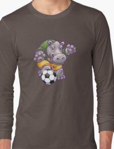 Wild Animal League Hippo Soccer Player Long Sleeve T-Shirt