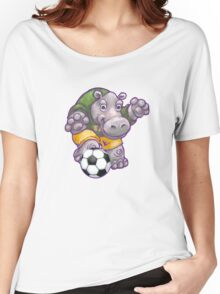 Wild Animal League Hippo Soccer Player Women's Relaxed Fit T-Shirt