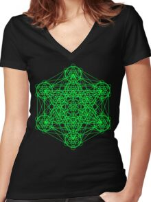 Infinity Cube Green Women's Fitted V-Neck T-Shirt
