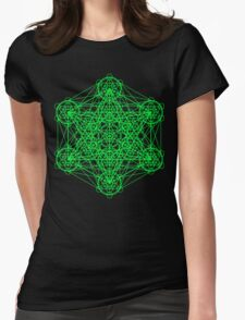 Infinity Cube Green Womens Fitted T-Shirt