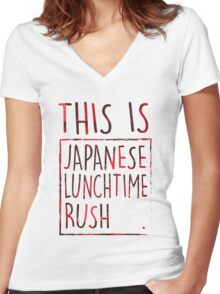 Japanese Lunchtime Rush. Women's Fitted V-Neck T-Shirt