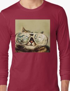 Cute Cat With Glasses Long Sleeve T-Shirt