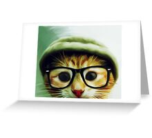 Vintage Cat Wearing Glasses Greeting Card