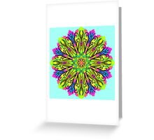 Simetric Colorful Ethnic Mandala Flower - Zentangle Greeting Card