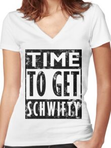 Rick and Morty Get Schwifty Lyrics Print Women's Fitted V-Neck T-Shirt
