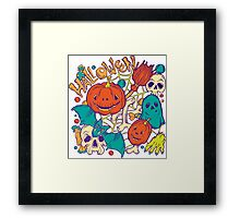 Halloween design with wicth stuff Framed Print