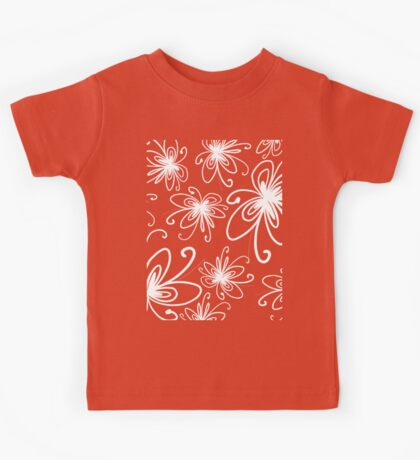 Doodle Flower in White with Blue Background Kids Tee
