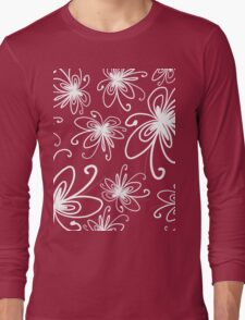 Doodle Flower in White with Blue Background Long Sleeve T-Shirt