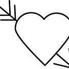 Black Heart Outline with Arrow Through It by ValeriesGallery