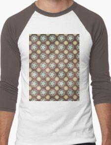 Vintage Retro Polkadot Brown Pattern Men's Baseball ¾ T-Shirt