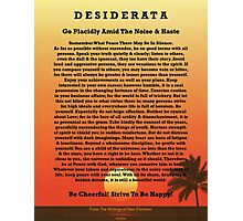 Desiderata on Red Ocean Sunset and Lone Palm Photographic Print