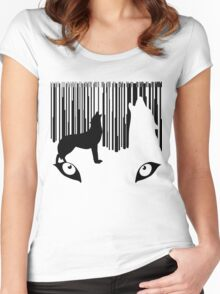 wolf barcode Women's Fitted Scoop T-Shirt