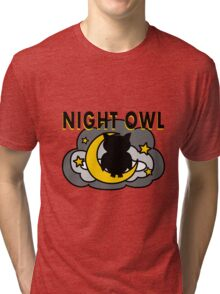 Owl Sitting on the Moon Tri-blend T-Shirt