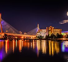 Moon light over Zakim bridge by LudaNayvelt