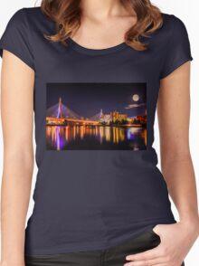 Moon light over Zakim bridge Women's Fitted Scoop T-Shirt